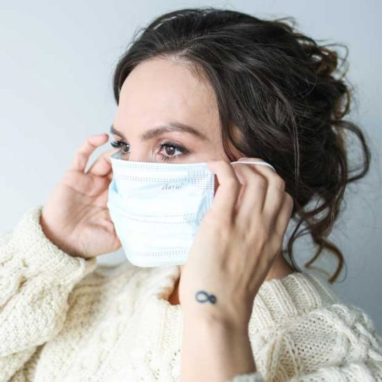 Woman wears a mask to protect herself from COVID-19