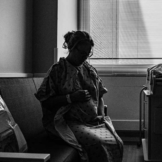 Pregnant mother in hospital waiting to be induced