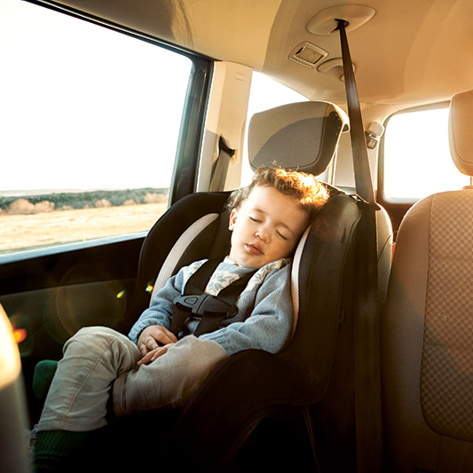 Toddler travelling in the car