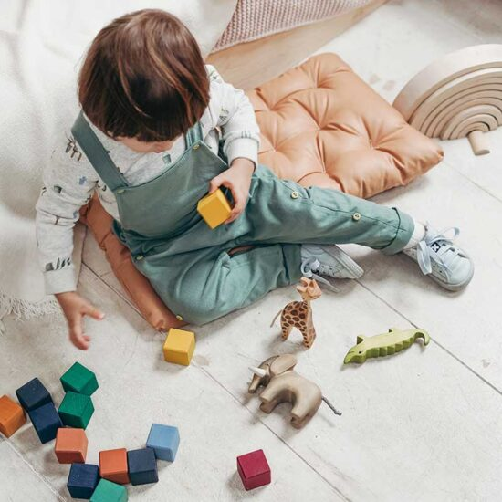 Toddler plays with wooden blocks and animal figurines